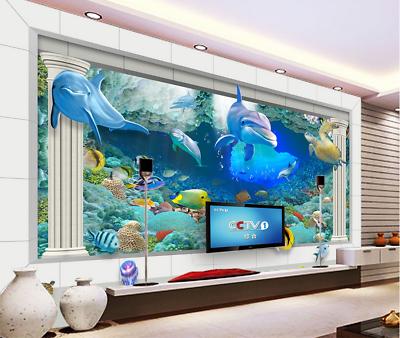 3d Dolphins Aquarium 7 Wall Paper Murals Wall Print Wall Wallpaper Mural Au Kyra Ebay
