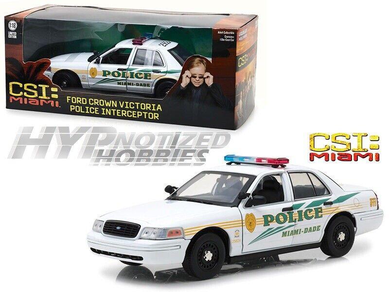 GREENLIGHT 1 18 CSI  MIAMI 2003 FORD CROWN VICTORIA POLICE DIE-CAST WHITE 13514