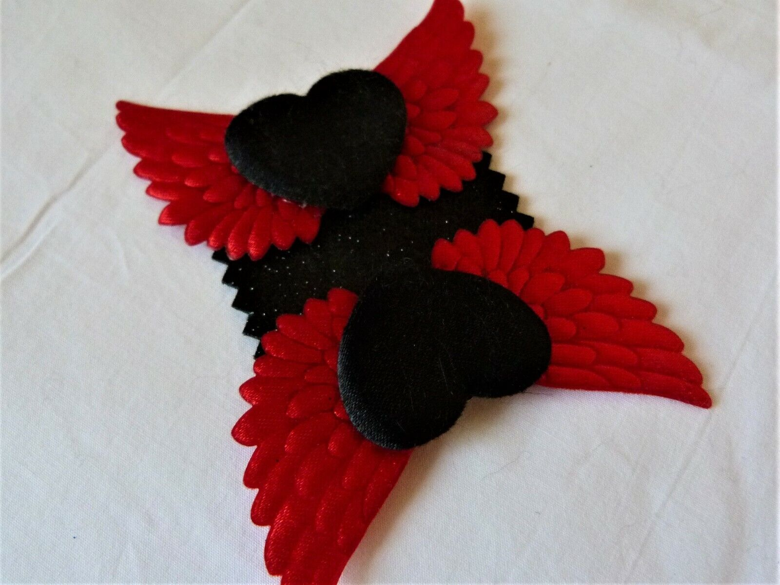 Black Satin Hearts & Red Wings Shoe Clips - Handcrafted, Whitby, Rock'n' Roll
