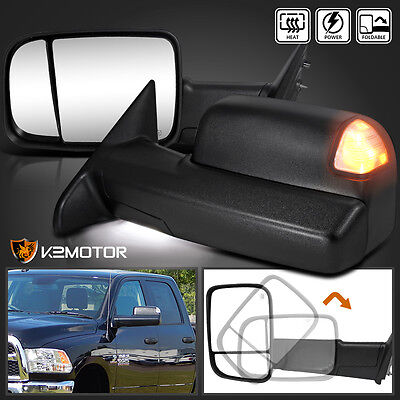 2013-2015 Dodge Ram 1500 2500 Power+Heated Flip Up Towing Mirrors w/LED Puddle