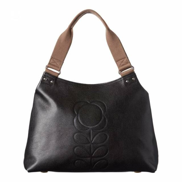 Orla Kiely Embossed Flower Stem Leather Classic Shoulder Bag Black Nwt