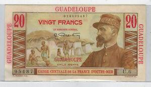 Guadeloupe-Caisse-Central-de-La-France-D-034-outre-Mer-20-Francs-Note-Uncirculated
