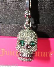 Juicy Couture Silver Pave Encrusted Skull Emerald Eyes Charm  #6329