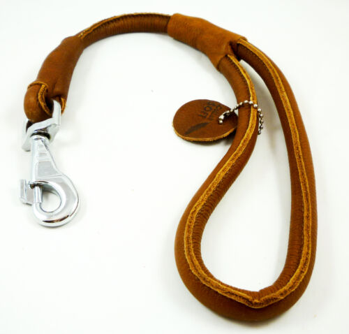 """Round Genuine Rolled Leather Dog Short Leash 20/"""" Long 5//8/"""" Wide Lead Large Dogs"""