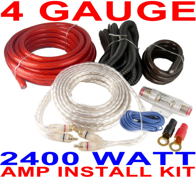 4 gauge amp kit 2400 watts car amplifier install power fast usa ebay rh ebay com 4-gauge dual amplifier complete wiring kit mesa 4 gauge amplifier wiring kit