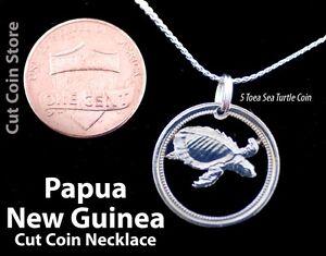 Papua-New-Guinea-Pig-nose-Turtle-5-Toea-Cut-Coin-Jewelry-Pendant-Necklace