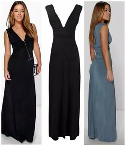 581f25698224 Image is loading Boohoo-Womens-Petite-Donna-Plunge-Ruched-Maxi-Dress-
