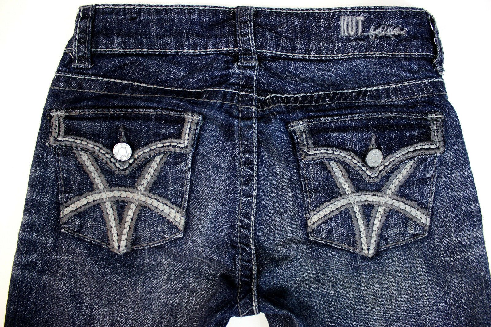 Kut from the Kloth Jeans Wiskered Distressed Low Rise Bootcut SZ 28x33