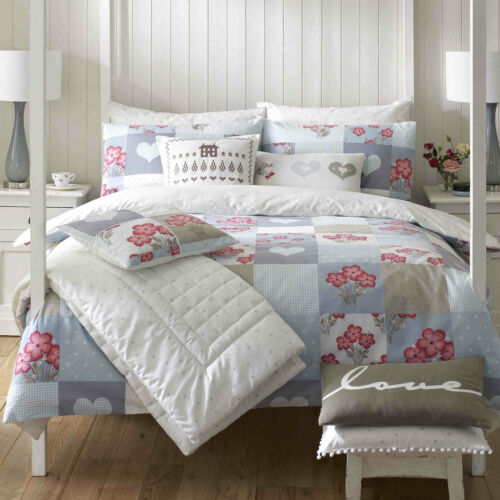 Kirstie Allsopp Hattie CornFlour Floral Colour Duvet Cover Quilted Throw Cushion