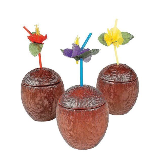 2 x Coconut Cups***WITH FREE FANCY STRAWS***Hawaiian...Tropical...Beach Party