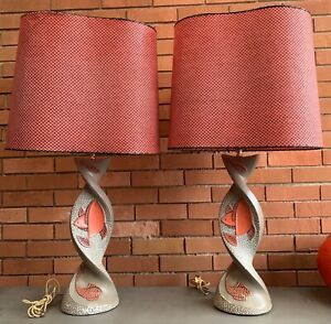 Pair-Vintage-50s-FAIP-Fish-Lamps-Red-Kidney-Fiberglass-Shades-Mid-Century-Modern