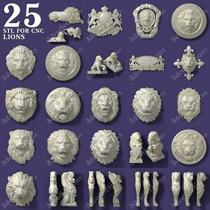 3d-stl-model-cnc-router-artcam-aspire-25-pcs-lion-collection