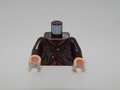 Lego Dark Brown Torso LotR Tank Top over Dark Green Shirt Pattern #37