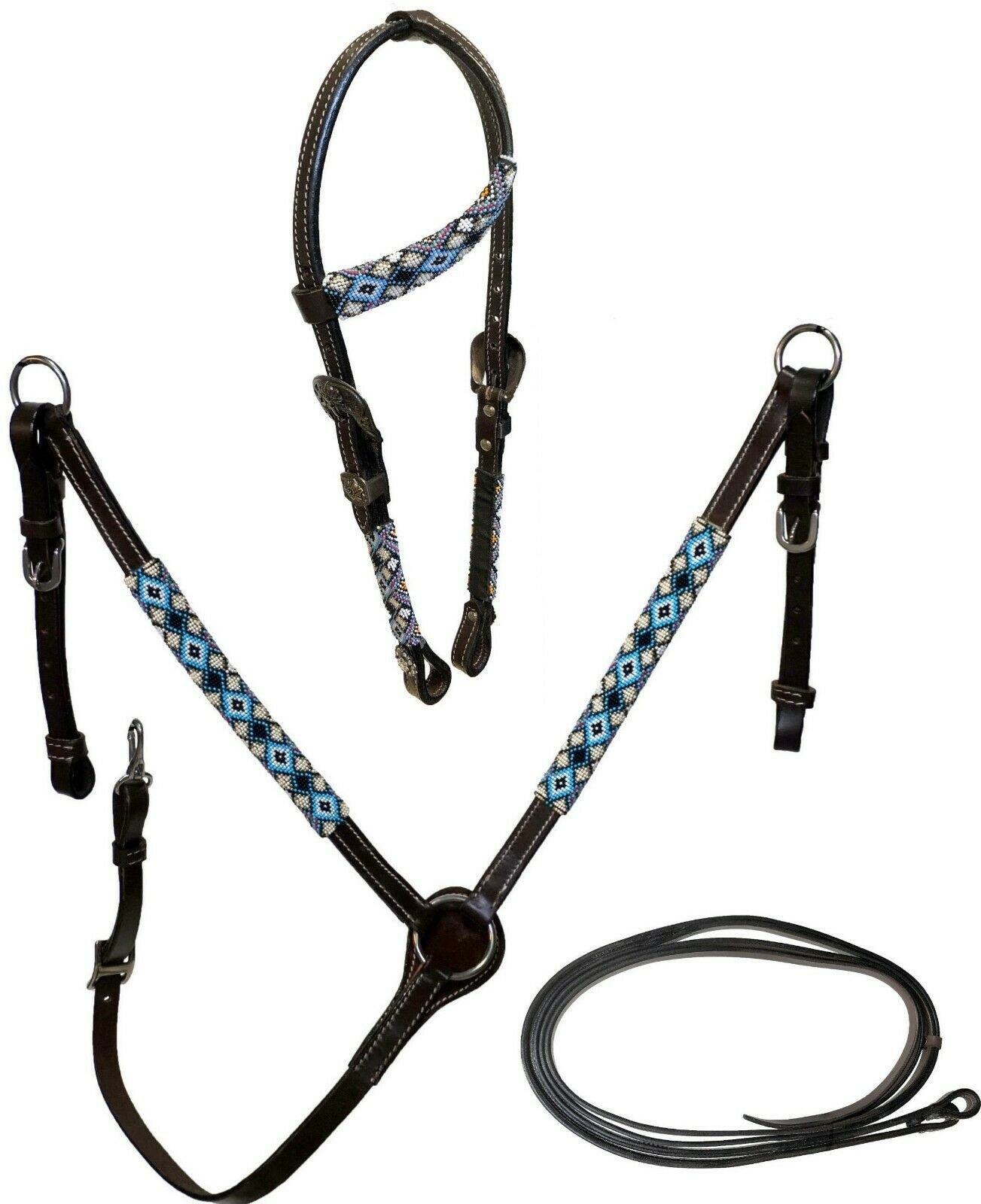 Equitem aceite oscuro cuero cabezada breastcollar Conjunto Azul Negro Diamante Grano Envoltura
