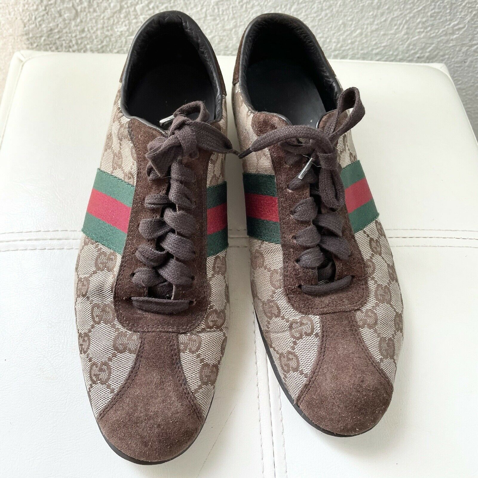 Vintage Classic Brown Green Red Gucci Logo Canvas… - image 2