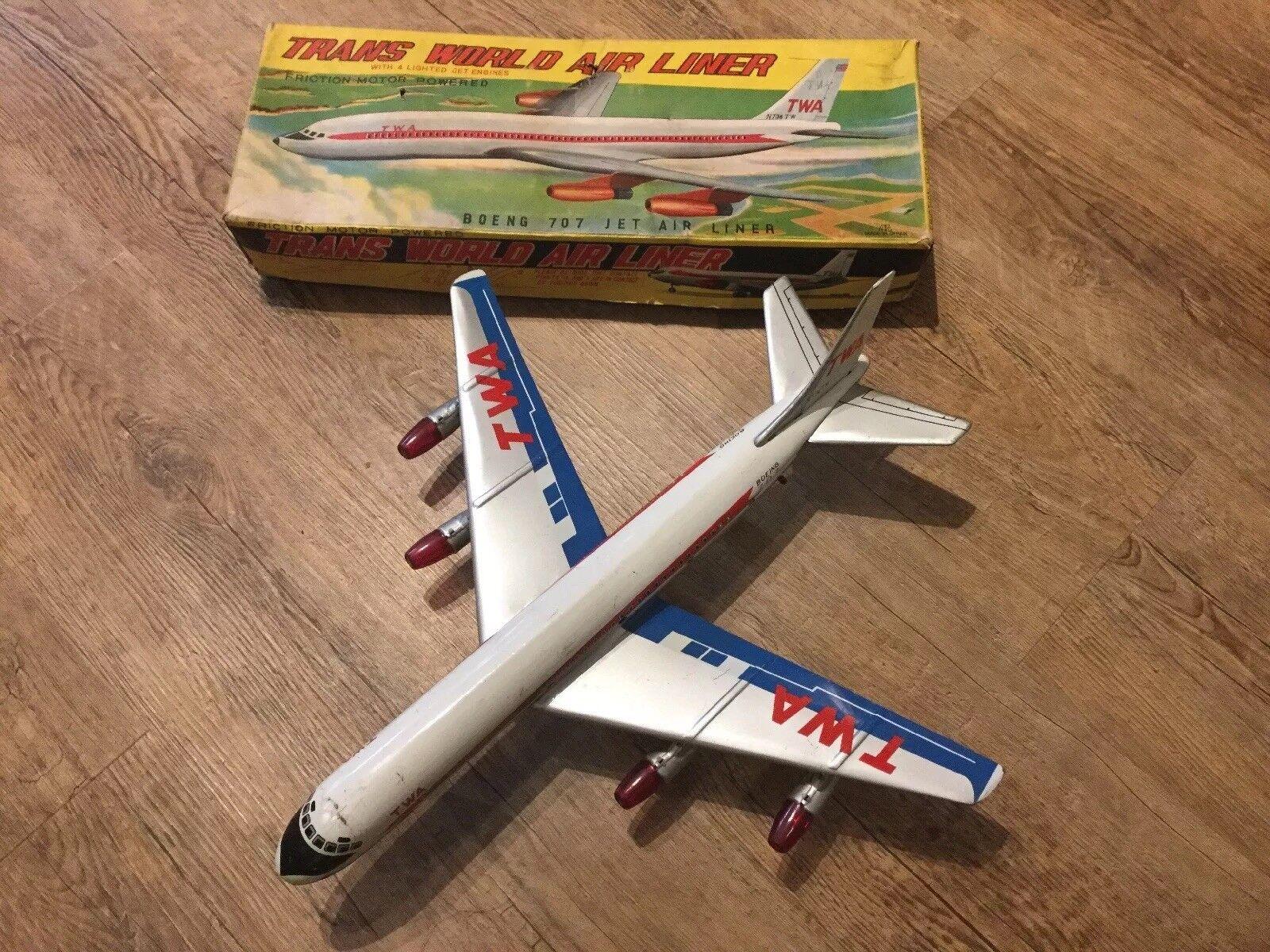 Vintage Tin Friction Powered TWA Trans World Air Liner Plane