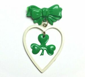1950s-Early-Plastic-Shamrock-Four-leaf-Clover-Brooch-Irish-Celluloid-Jewelry-50s