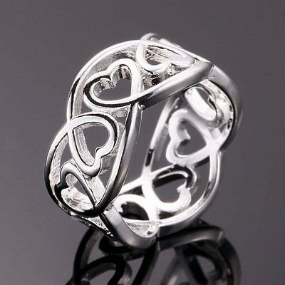 NEW Fashion Silver Plated pretty Cute lady women Heart Ring jewelry hot sale