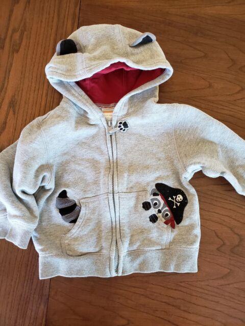 3640ef89f 12-24 month Gymboree Boys Raccoon jacket Zipper Hood cute