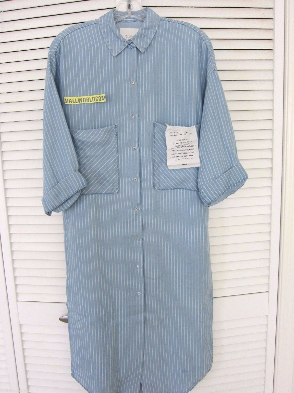 NEW ZARA I AM DENIM Tokyo Collection Denim Striped Long OverGrößed Shirt Dress S