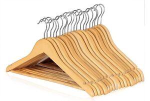 20-Wooden-Coat-Hangers-Suit-Trouser-Garments-Clothes-Coat-Hanger-Bar-NEW