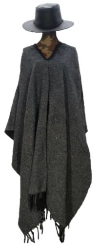 Sharpshooter Clint Eastwood Style Texmex Western Party Designer Grey Poncho