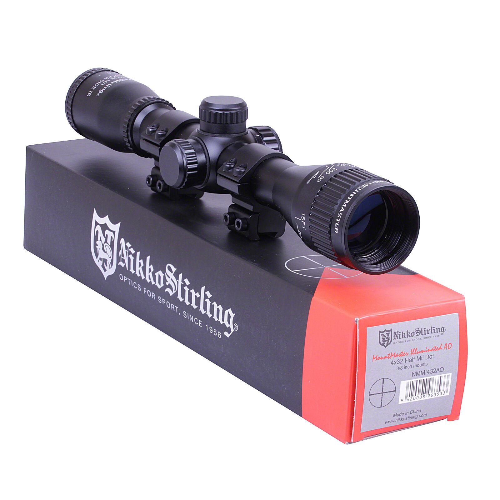 Nikko MOUNTMASTER 4x32 IR PX AO Adj Airgun Rifle Scope Sight + 11mm 3 8  Mounts