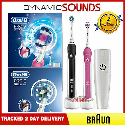 2 Oral B PRO 2 2500 Black + Pink Electric Rechargeable Toothbrush +Travel Case | eBay