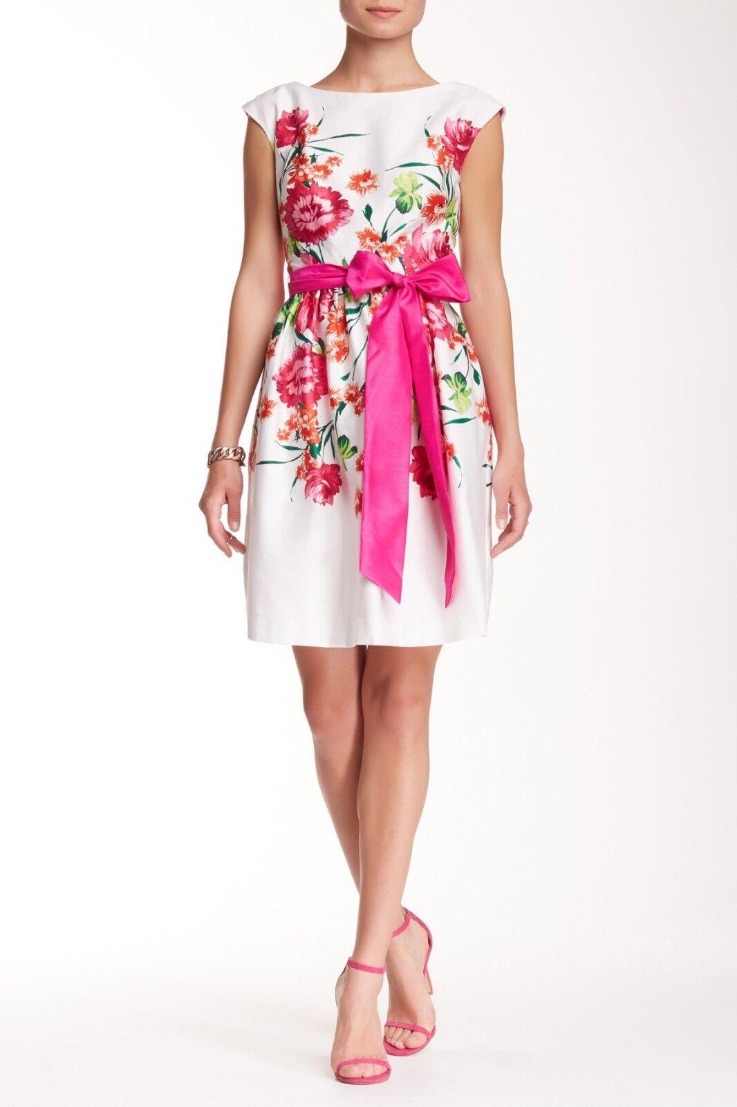 New Eliza J  Floral  Fit & Flare Belted Dress 6