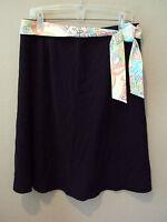 $54 Madison Studio Black Skirt W/ Paisley Belt Womens 12