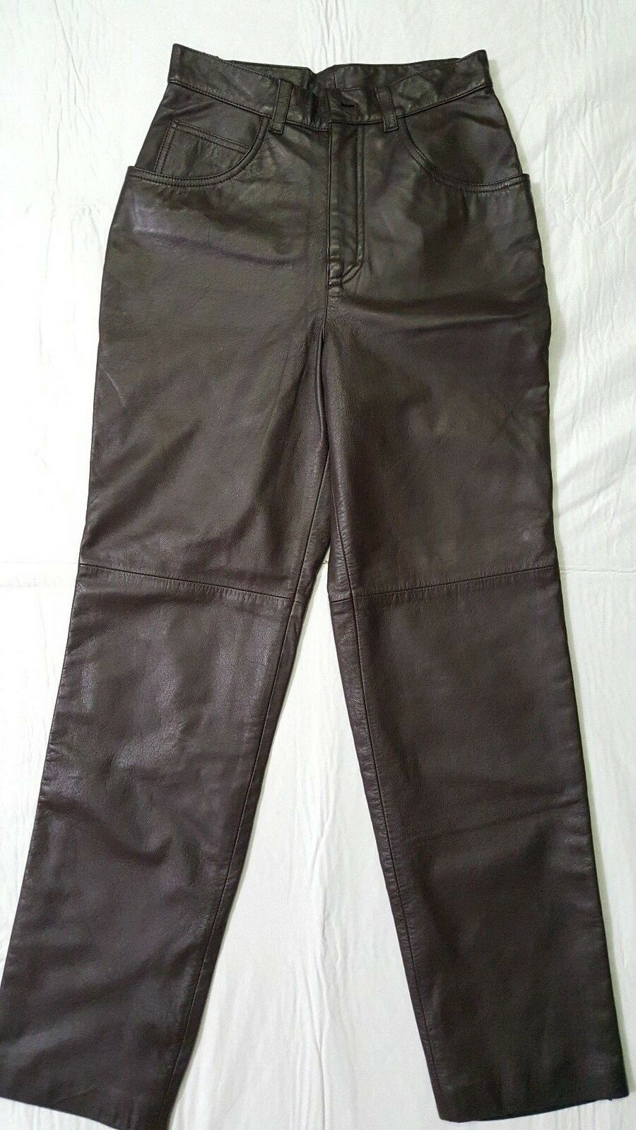 NEW LAUREN RALPH LAUREN BROWN LEATHER PETITE PANT SIZE 2P