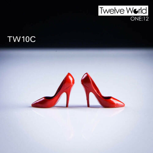 TW10C 1//12 scale red pointy tip high heel shoes for 1//12 Phicen TBLeague Body