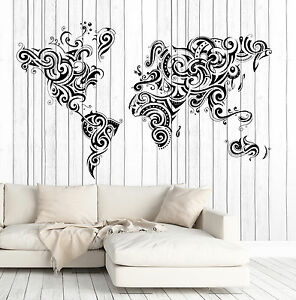 Vinyl decal wall sticker decorative world map ornament decor n750 image is loading vinyl decal wall sticker decorative world map ornament gumiabroncs Choice Image