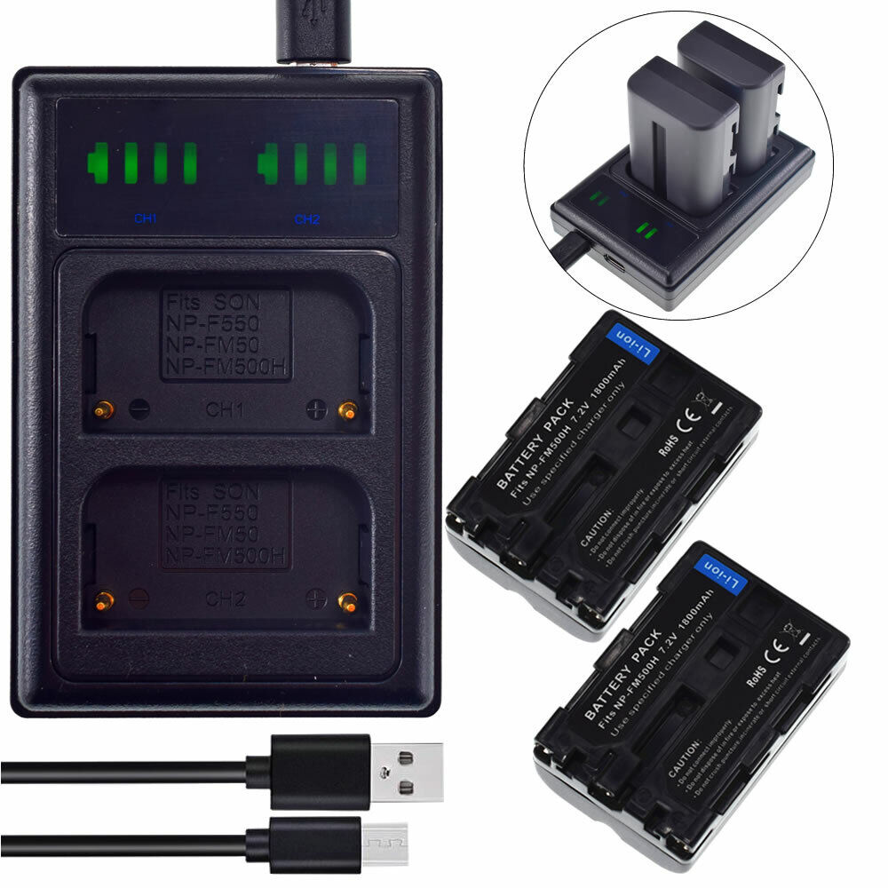 2X NP-FM500 Battery + Dual Charger for Sony Alpha SLT-A58 A57 A99 A100 A560 A580