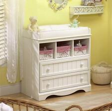 Changing Table and Dresser in Pure White with 2 Drawers and 3 Cubbies Nursery
