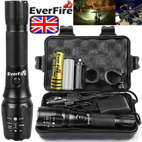 Rechargeable 350000LM Flashlight Zoom T6 LED Tactical Bike Light Torch Headlamp.