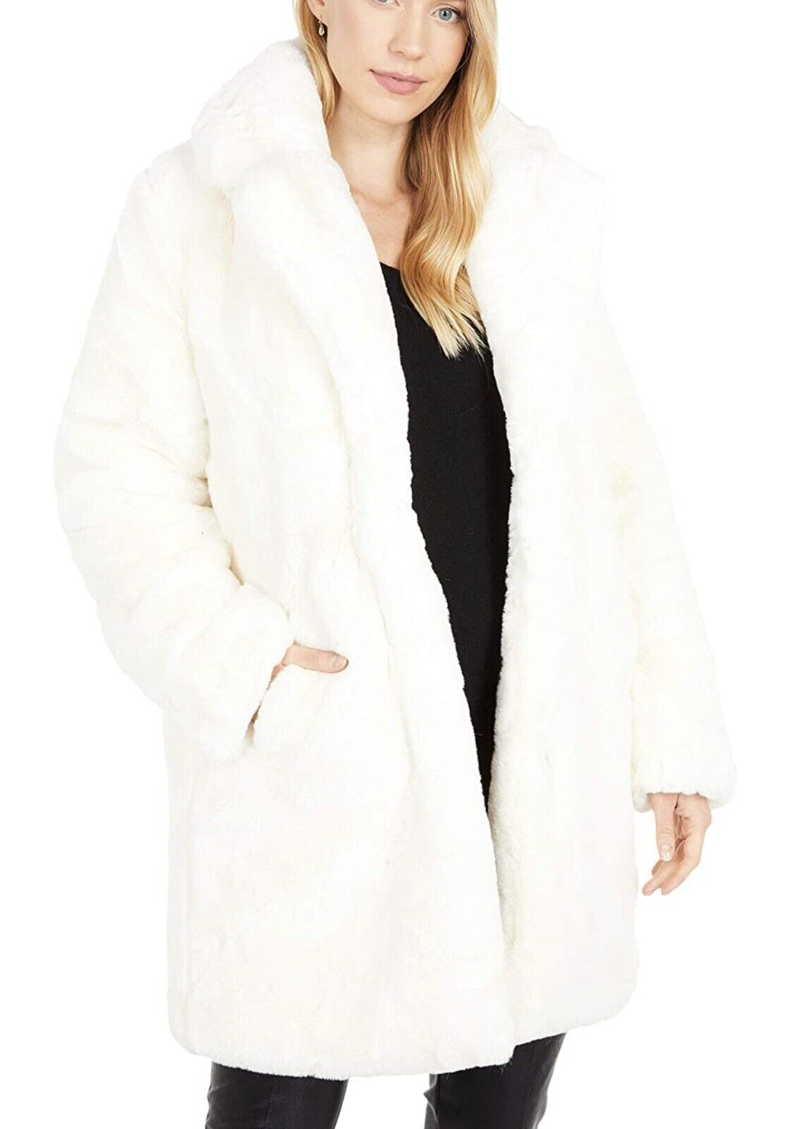 NWD Apparis Sasha Ivory Long Faux Fur Coat with Collar Women's Size S