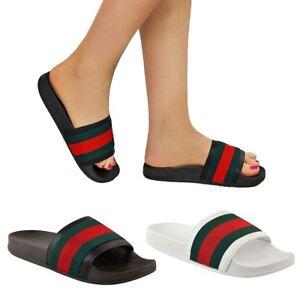 Womens-Ladies-Designer-Inspired-Celebrity-Red-Green-Striped-Slider-Sandals-Shoes