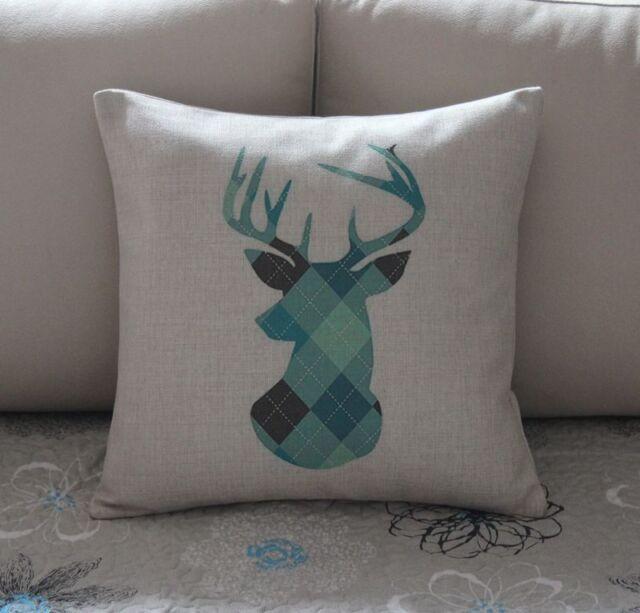 Colorful Geometries Deer Cotton Linen Cushion Cover Throw Pillow Home Decor B578