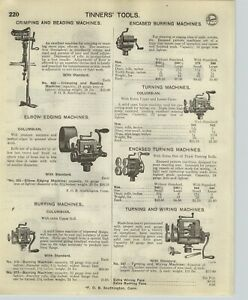 1918 PAPER AD 12 PG Tinners' Tools Turning Burring Machine Shears Brakes Punch