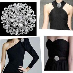 Women-Rhinestone-Crystal-Flower-Wedding-Bridal-Bouquet-Silver-Flower-Brooch-Pin