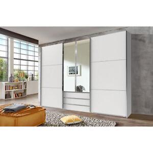 Details zu Schwebetürenschrank Schlafzimmer Schrank Kleiderschrank 300 cm  mit Spiegel WEIß