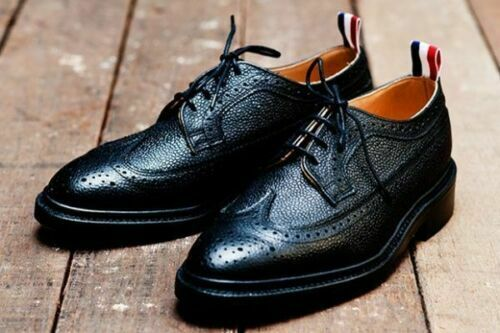 Mens Handmade scarpe Bespoke Grain Leather nero Oxford Brogue Wingtip Derby avvio