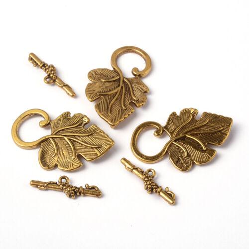 10 Sets 22x37.5mm Tibetan Silver Leaf Shape Toggle Clasps Lead Free Cadmium Free