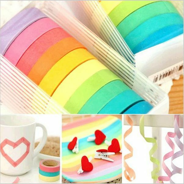 10 PCS Decorative Roll Washi Tape Sticky Paper Masking Adhesive Tape Crafts DIY