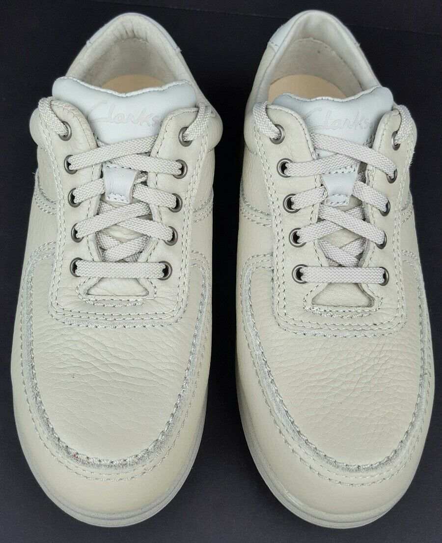 Clarks Women's 8.5 M Cream White Leather Moc Toe Casual Casual Casual Lace Up Oxfords NOS 1998 4e5f1d