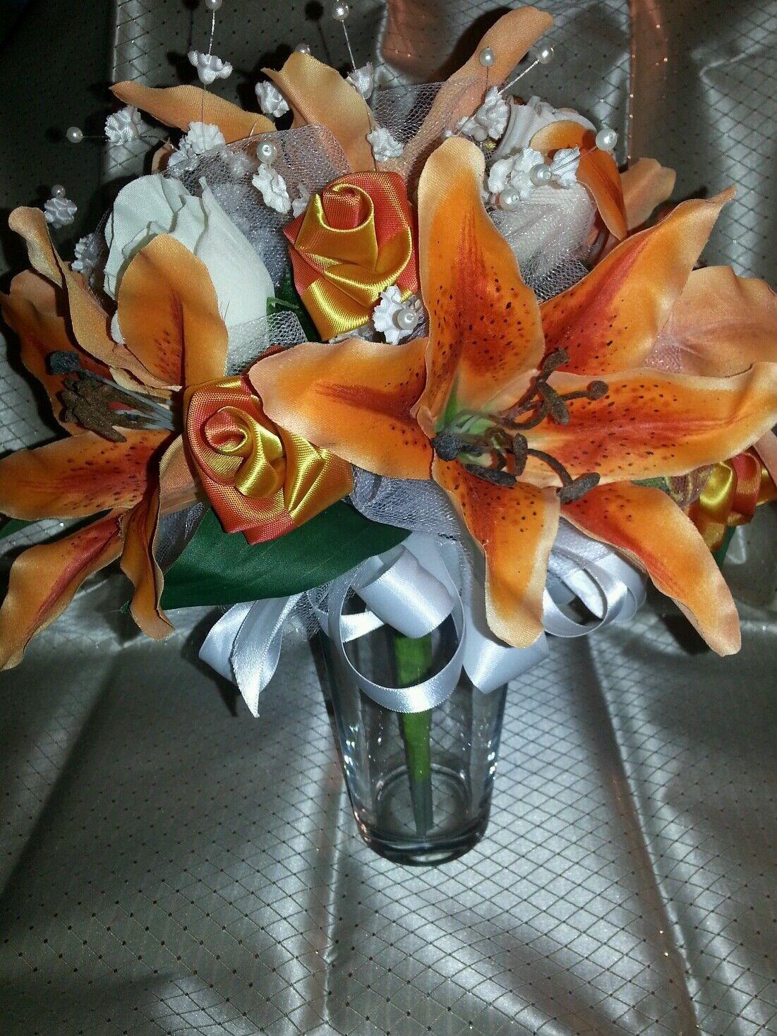 Wedding 21 pc bridal bouquet Orange stargazer lily Weiß ivory