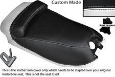 BLACK & WHITE CUSTOM FITS HYOSUNG GRAND PRIX 125 DUAL LEATHER SEAT COVER