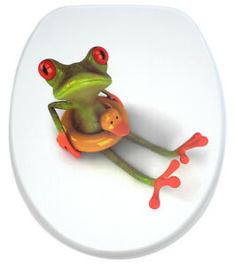 wc sitz toilettendeckel klodeckel klobrille mit absenkautomatik gr n froggy ebay. Black Bedroom Furniture Sets. Home Design Ideas