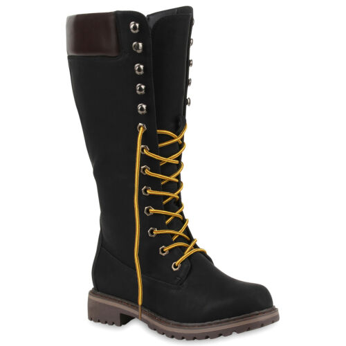 813017 Block Sohle Schnürstiefel Leder Schuhe Profil Absatz optik Stiefel q7nEn0Fxp